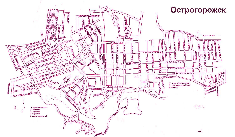 Карта Острогожска автомобильная.