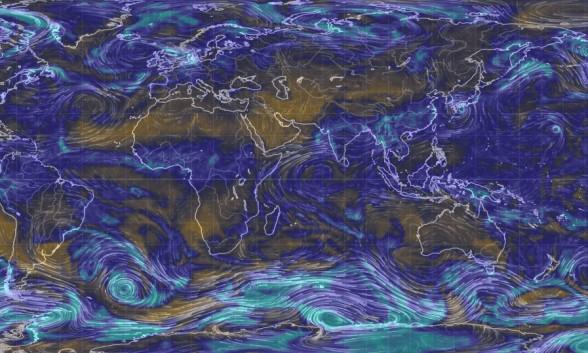 Карта ветров в режиме реального времени