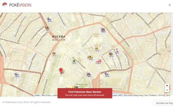 Интерактивная карта с Покемонами