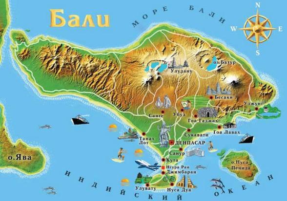 Достопримечательности Бали на карте