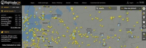 Карта полетов самолетов онлайн
