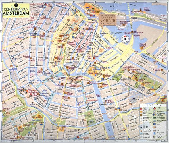 туристическая карта центральной части Амстердама