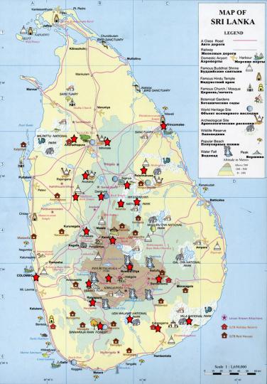 Шри-Ланка карта туристическая