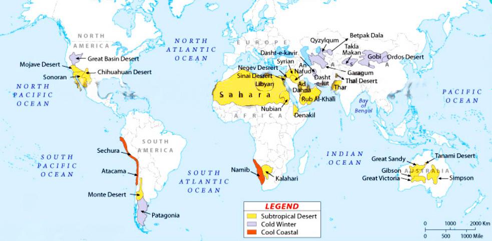 Карта самых больших пустынь мира