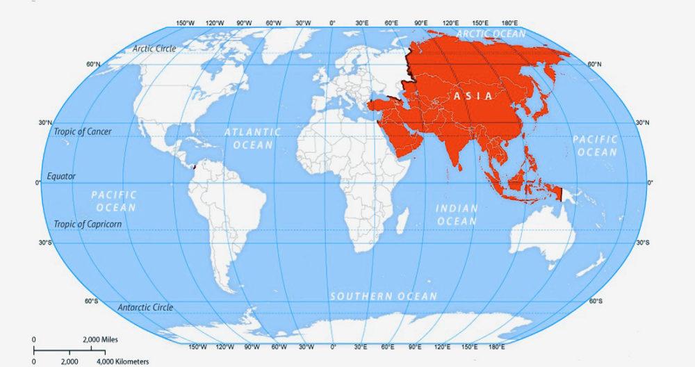 Расположение Азии на карте мира. Широта и долгота