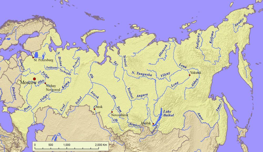 Карта рек России. Самые крупные реки на карте